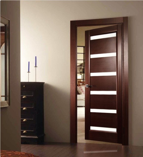 Tokio glass modern interior door wenge finish modern interior doors new york by modern - Modern home luxury doors ...