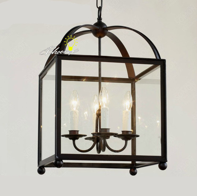 Amtique Square Iron And Clear Glass Shape Pendant Lighting