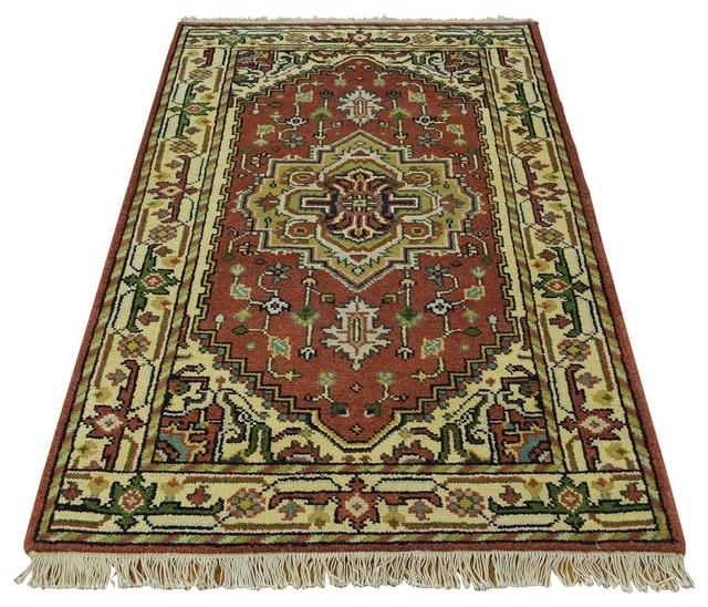 100 Wool Persian Area Rug: Tribal Design Serapi Heriz 100% Wool Hand Knotted Oriental