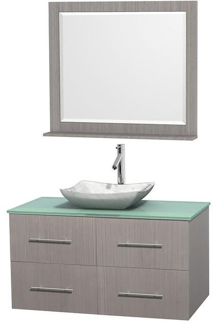 42 In Single Bathroom Vanity In Gray Oak Green Glass Countertop Avalon White Modern