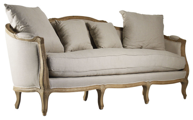 Rue du bac french country linen feather down sofa traditional sofas by kathy kuo home - French country sectional sofas ...