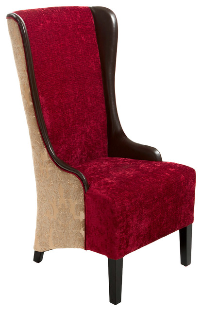Grant tall chocolate brown ruby fabric leather wingback for Leather wingback dining chair