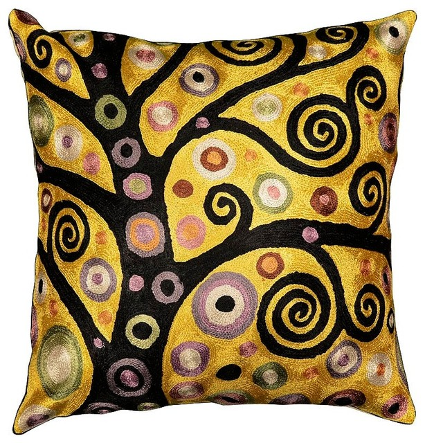 Klimt Throw Pillow Soulful Tree Of Life Silk Hand Embroidered 18 X Contemporary