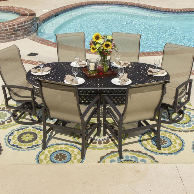 Contemporary Outdoor Dining Furniture: Acadia 6-Person Sling Patio Dining Set With Cast Aluminum