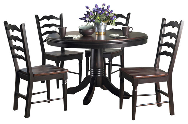 Powell seville 5 piece round dining room set in black and for Traditional round dining room sets