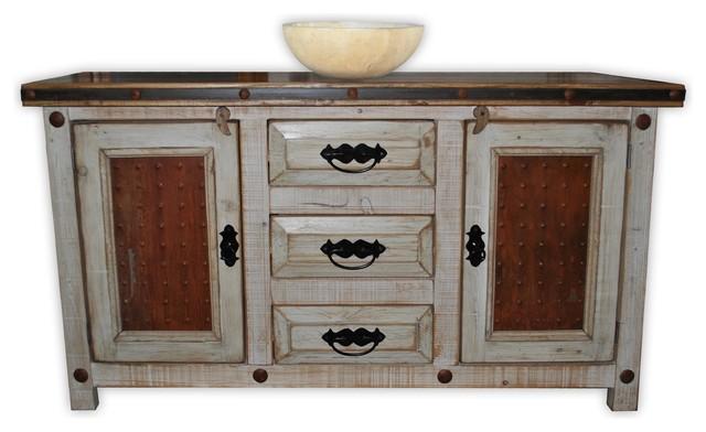 """Mediterranean Bathroom Sinks: Woodland 60"""" Rustic Vanity With Metal Panels"""