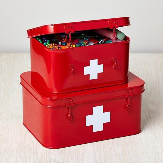 Store More Metal Boxes First Aid Set Of  Contemporary Emergency And