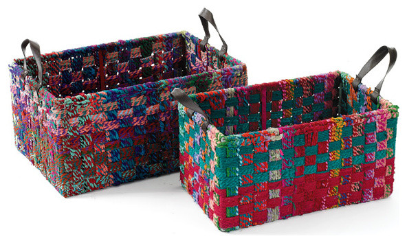 Rectangle Woven Fabric Baskets - Eclectic - Baskets - by Custom ...
