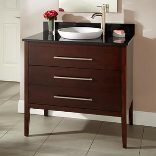 36 Wiley Walnut Vanity For Semi Recessed Sink Modern