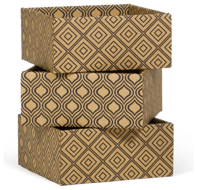 Decorative Boxes For Closets : Diamond print decorative storage boxes pack modern