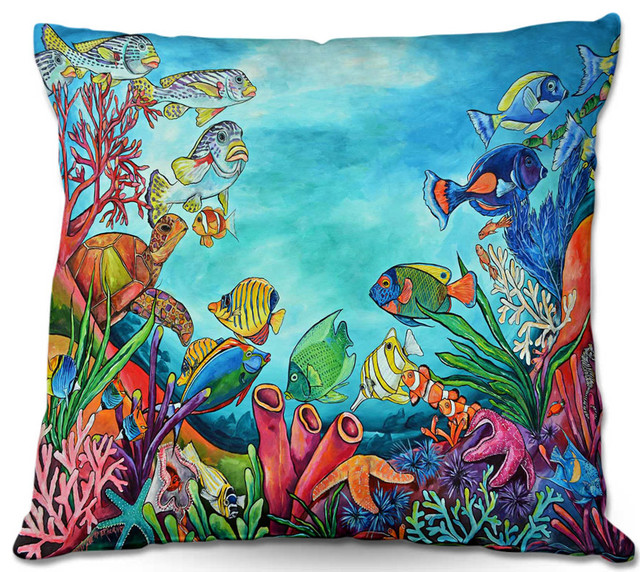 DiaNoche Throw Pillows by Patti Schermerhorn Coral Reef - Bed Pillows - by DiaNoche Designs