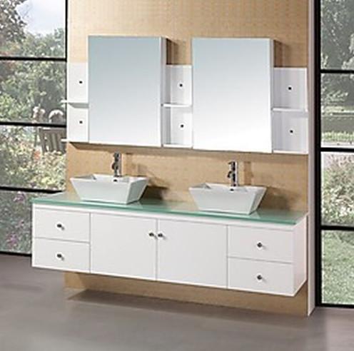 Design Element Portland 71in Double Sink Bath Vanity In White Finish Modern Bathroom