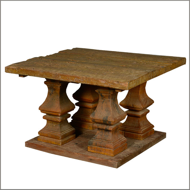 Ancient Columns Square Pedestal Coffee Table Reclaimed