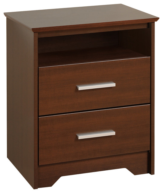 Yaletown 2 drawer tall espresso night stand contemporary for Tall modern nightstands