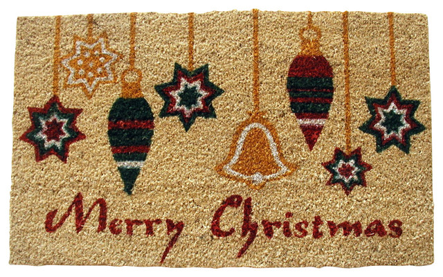 Merry christmas ornaments doormat traditional for Outdoor merry christmas ornaments