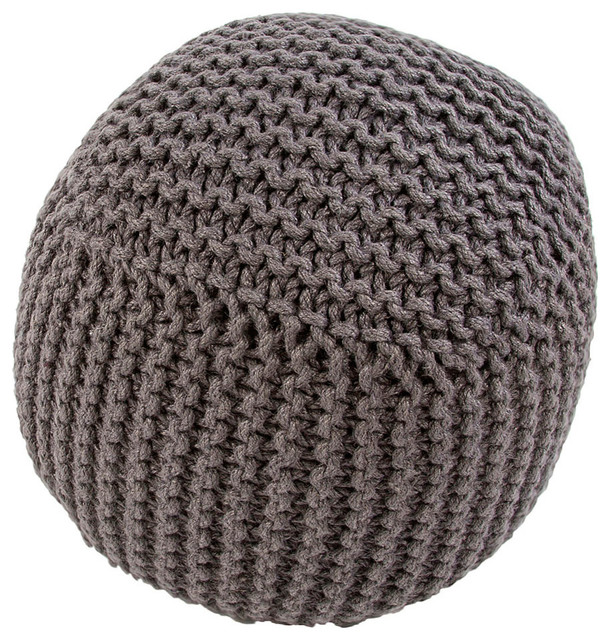"18"" x 18"" Forda Charcoal Pouf transitional-floor-pillows-and-poufs"
