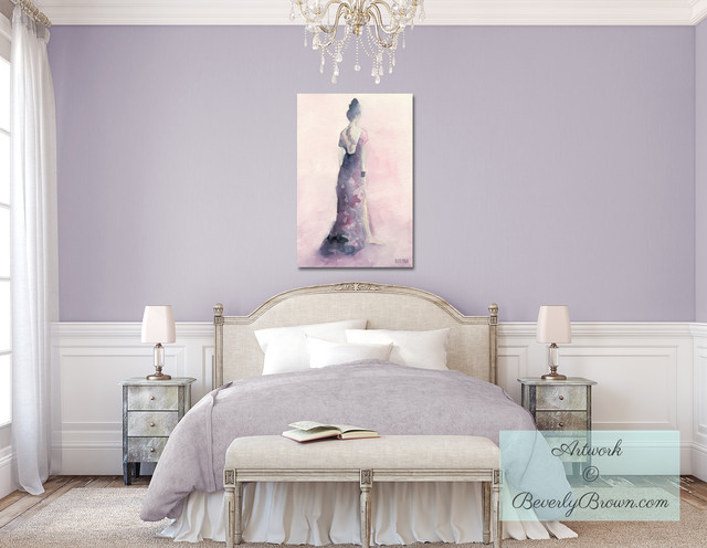 Feminine Lavender Bedroom with Purple and Pink Canvas Art - Shabby-chic Style - Bedroom - new ...