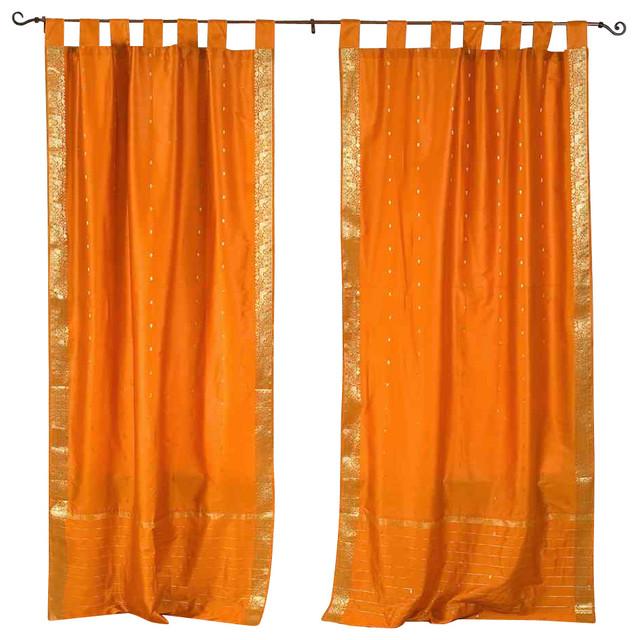 Mustard Tab Top Sheer Sari Cafe Curtain Drape Panel 43w X 36l Pair Eclectic Curtains