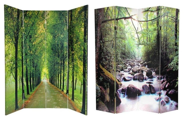 6 ft tall double sided path of life canvas room divider for Canvas privacy screen outdoor