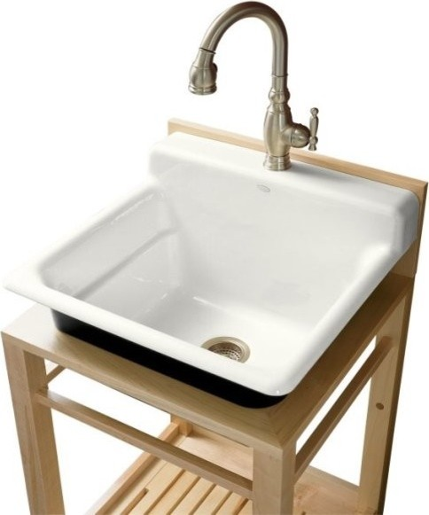 KOHLER K-6608-1P-0 Bayview Wood Stand Utility Sink with Single-Hole Faucet Drill - Traditional ...