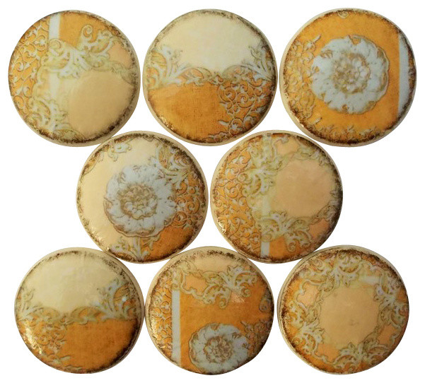 Set of 8 Burlap and Lace Cabinet Knobs - Traditional - Cabinet And Drawer Knobs - by Twisted R ...