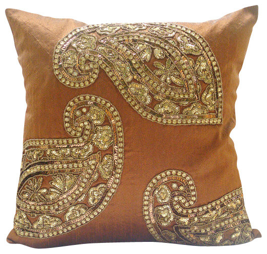 Traditional Paisleys Burnt Orange Silk Throw Pillow Cover