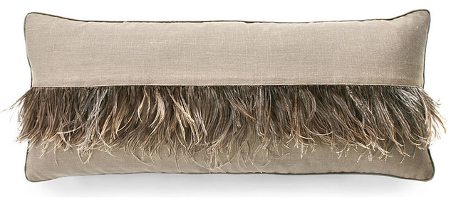 Ostrich Feather Stripe Pillow Cappucino Transitional