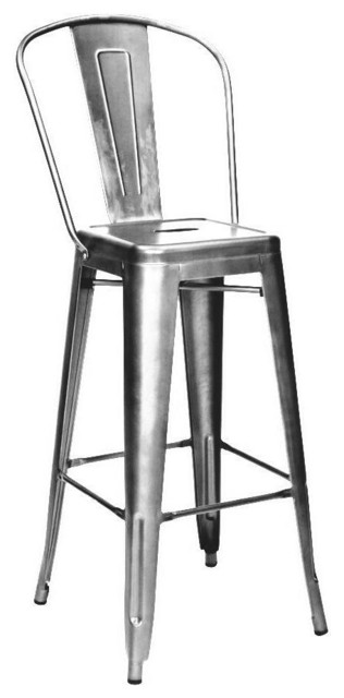 Dreux steel high back bar stool 30 set of 4 industrial for Cheap bar stools set of 4