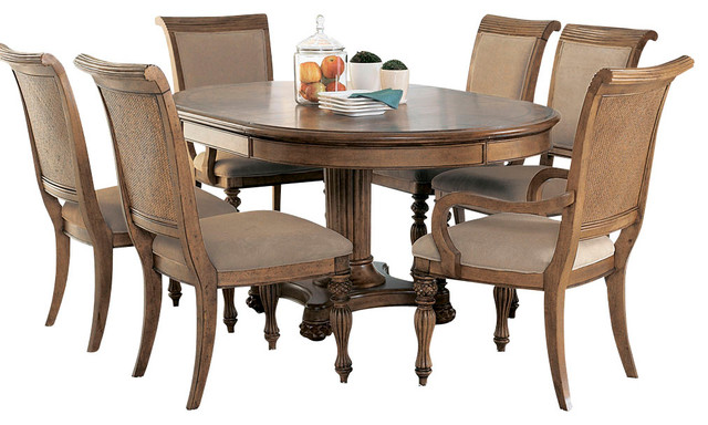 isle 8 piece round dining room set in amber traditional dining sets