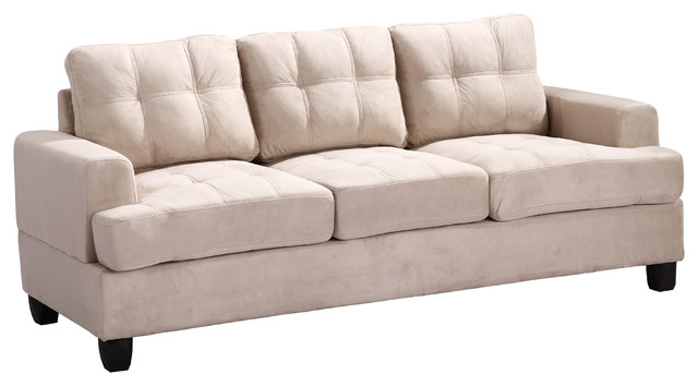 Tufted Sofa Beige Suede Traditional Sofas By Glory