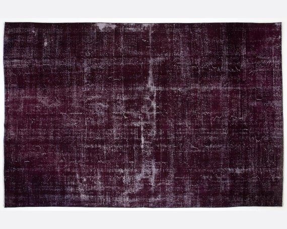 Vintage handmade overdyed rug in cherry purple for Purple area rugs contemporary