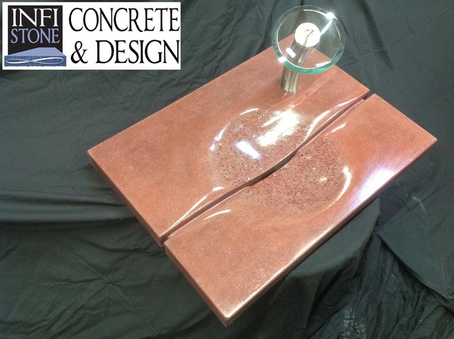 Sangria slot drain recycled glass concrete sink modern for Recycled bathroom sinks