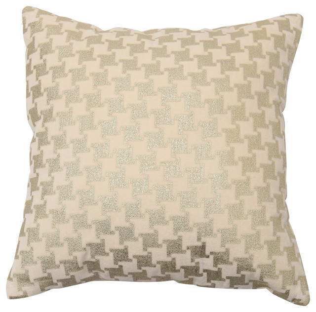 Large Houndstooth Metallic Foil Printed Velvet Pillow - 18