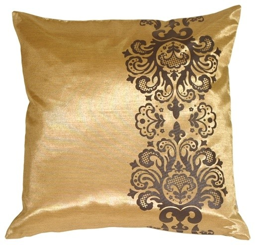 Gold Brown Throw Pillows : Pillow Decor - Baroque Scroll Throw Pillow - Contemporary - Decorative Pillows - by Pillow Decor ...