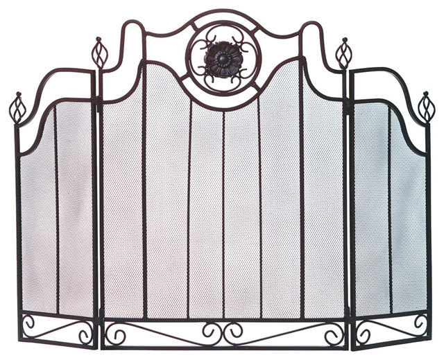 koehler home decor medallion fireplace screen contemporary fireplace screens by clickhere2shop. Black Bedroom Furniture Sets. Home Design Ideas