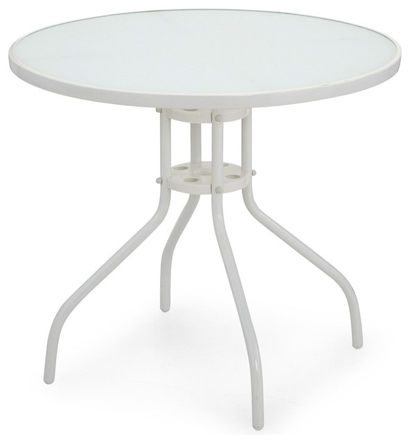 livia table ronde en acier blanc et verre moderne table de jardin bistrot par alin a. Black Bedroom Furniture Sets. Home Design Ideas