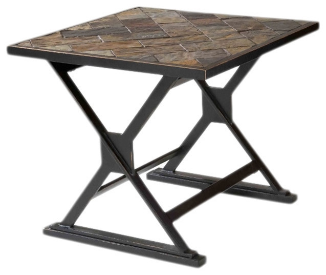 Durban south african slate top end table contemporary for Coffee tables durban