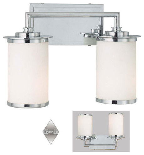 Glass Note Chrome Fluorescent Two Light Bath Fixture