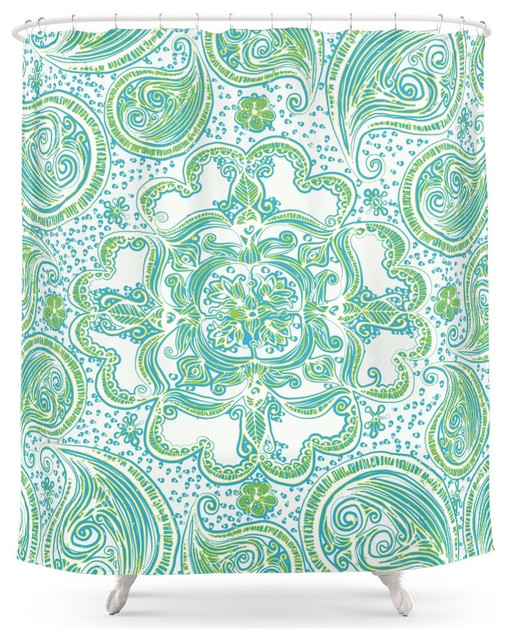 ... Mandala, Blue and Green Shower Curtain - Shower Curtains - by Society6