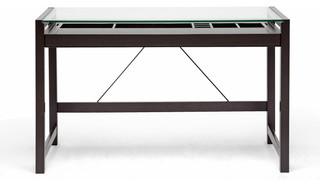 Baxton Studio Idabel Dark Brown Wood Modern Desk Wit S Top