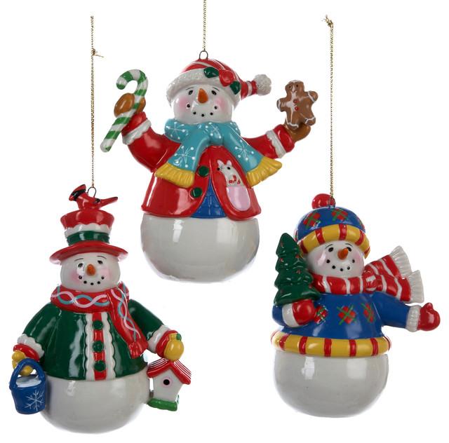 Christmas Snowman Ornaments Set of 3 Traditional  : traditional christmas ornaments from www.houzz.com size 640 x 632 jpeg 92kB