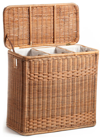 High quality 3 compartment wicker hamper toasted oat traditional hampers by the basket lady - High end laundry hamper ...
