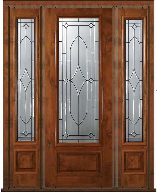 Pre-hung Side lights Door 96 Wood Alder Bourbon 3/4 Lite Glass - Eclectic - Front Doors - tampa ...