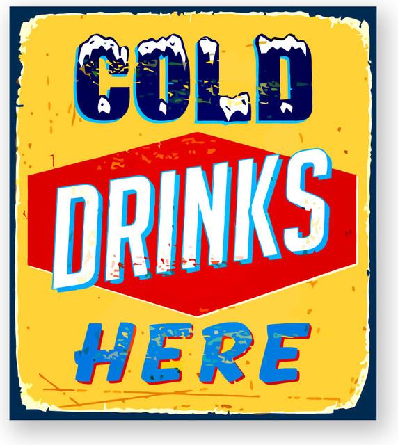 Alumapic Retro Cold Drinks Here Aluminum Sign Wall D 233 Cor