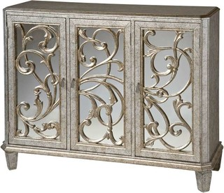 Stein World Leslie Mirrored Cabinet in Antique Silver - Traditional - Accent Chests And Cabinets ...