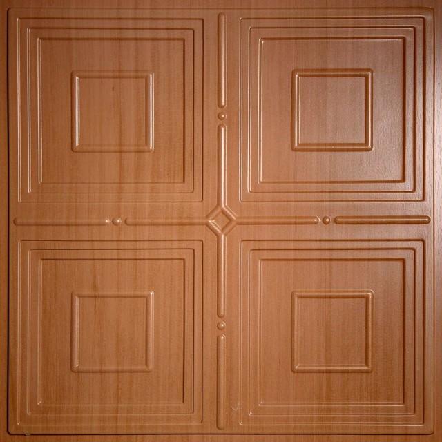 Wood grain ceiling tiles