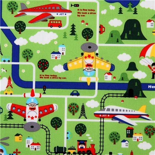 Cute children map kokka fabric from japan green kids decor for Cute childrens fabric