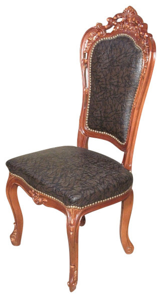 Traditional Upholstered Dining Chairs ~ Mahogany carved upholstered high back faux leather