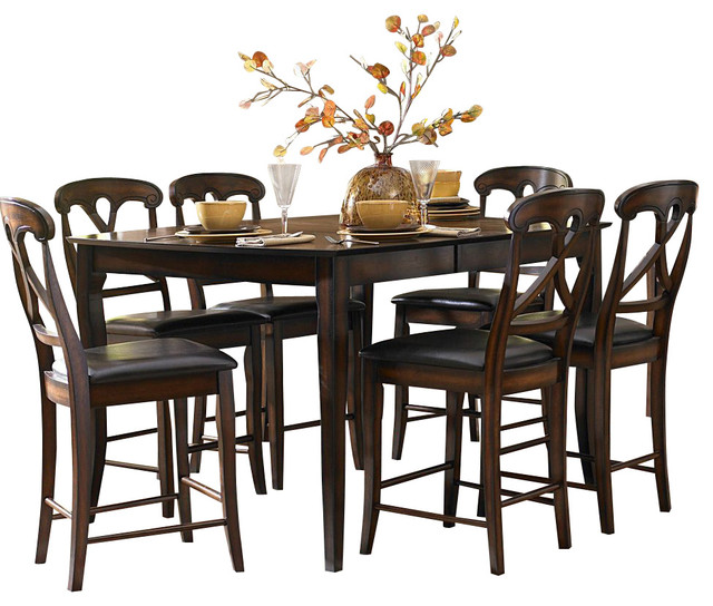 Homelegance kinston 6 piece counter height dining room set for Dining room tables houzz
