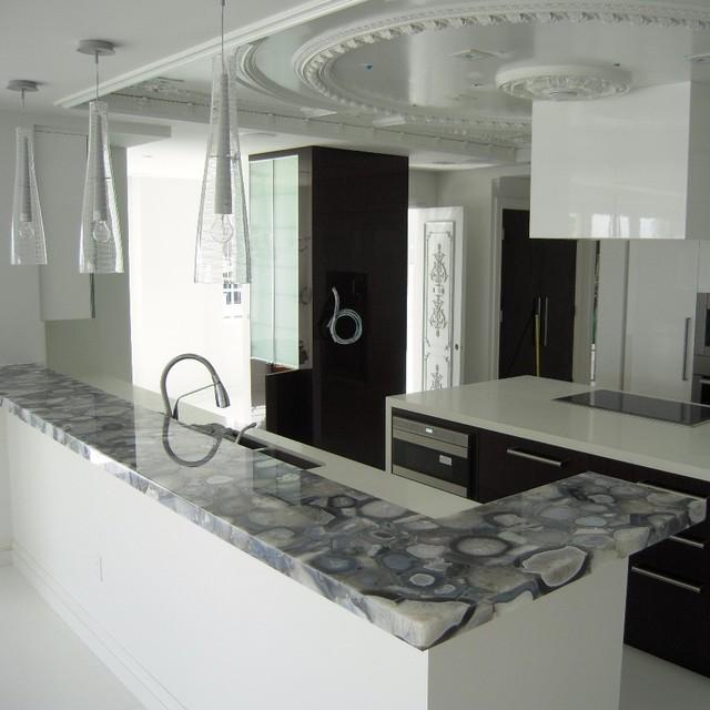 Grey Agate Countertop Semi Precious Modern Miami